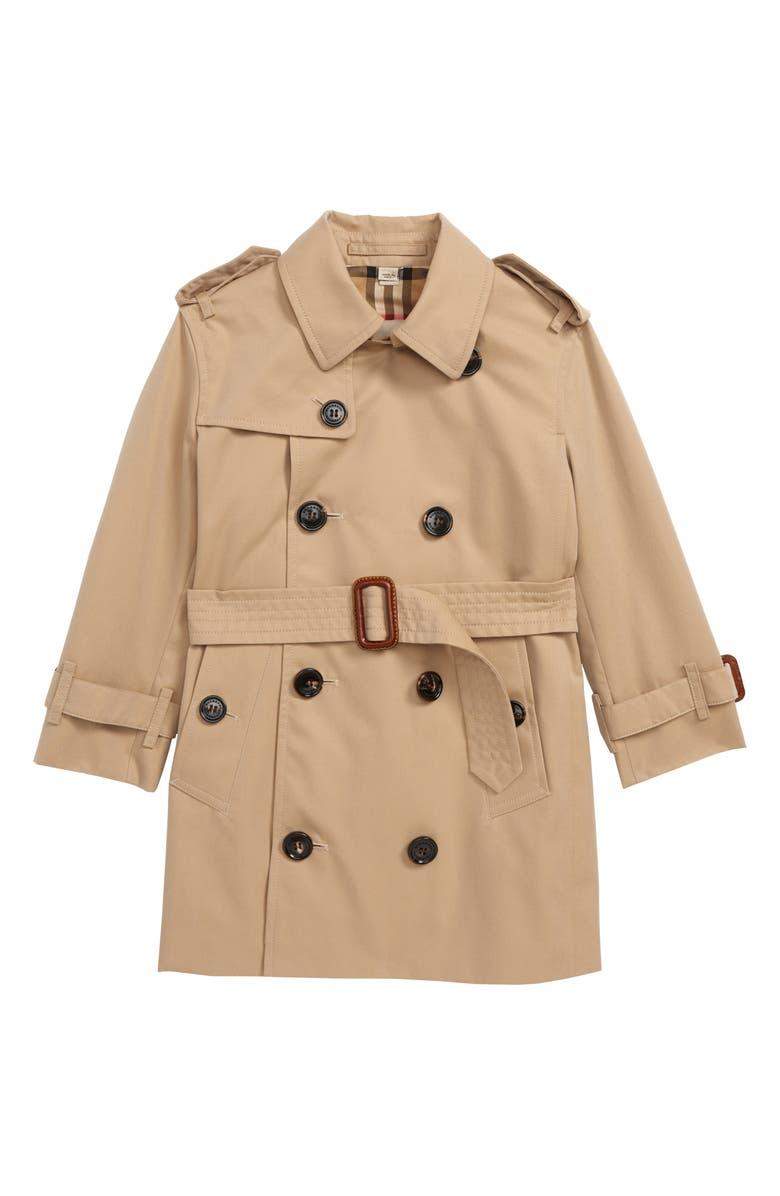 BURBERRY Mayfair Trench Coat, Main, color, HONEY