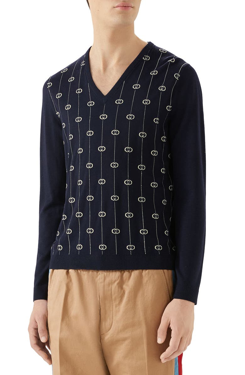 GUCCI Wool V-Neck Sweater, Main, color, INK/ MILK