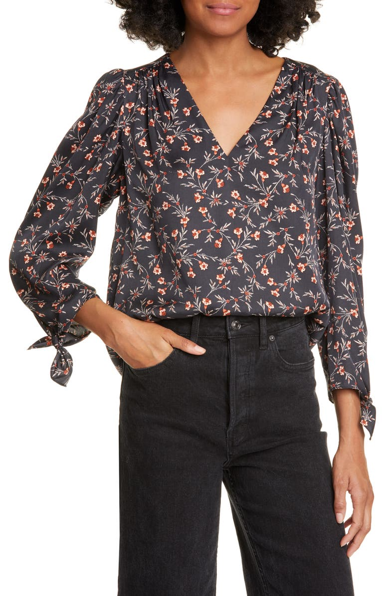 REBECCA TAYLOR Lia Floral Silk Blend Top, Main, color, BLACK COMBO