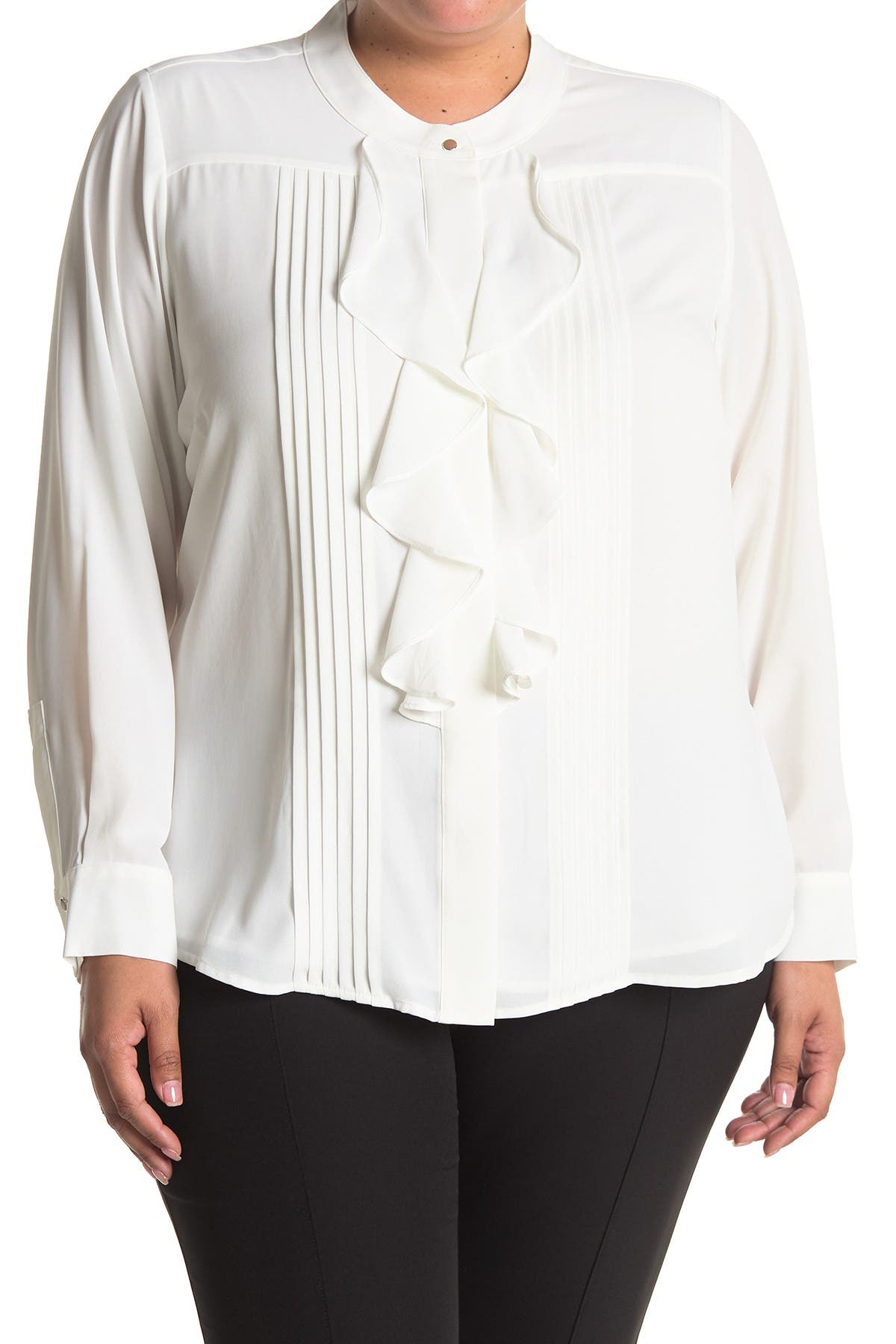 60s Shirts, T-shirts, Blouses, Hippie Shirts Calvin Klein Long Sleeve Ruffle Blouse Size 3X - Cream at Nordstrom Rack $44.97 AT vintagedancer.com