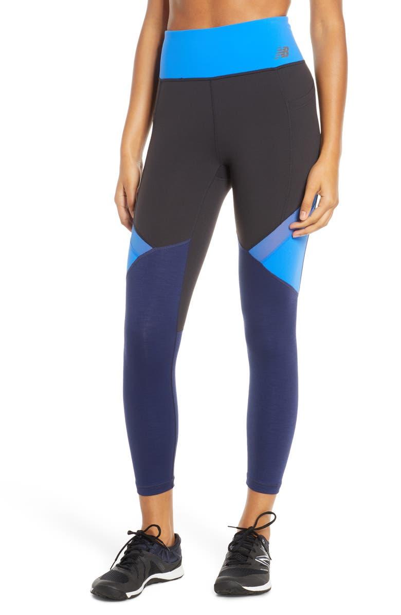 NEW BALANCE Highrise Transform Pocket Crop Leggings, Main, color, VIVID COBALT