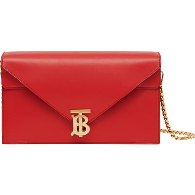 Burberry Small Tb Monogram Leather Shoulder Bag - Red