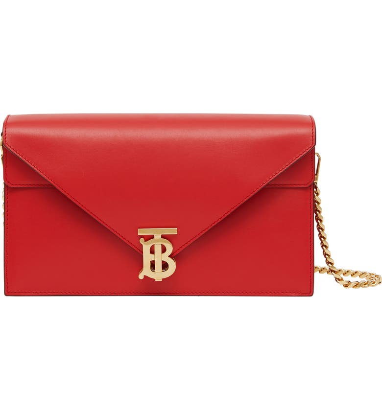 BURBERRY Small TB Monogram Leather Shoulder Bag, Main, color, BRIGHT RED RT