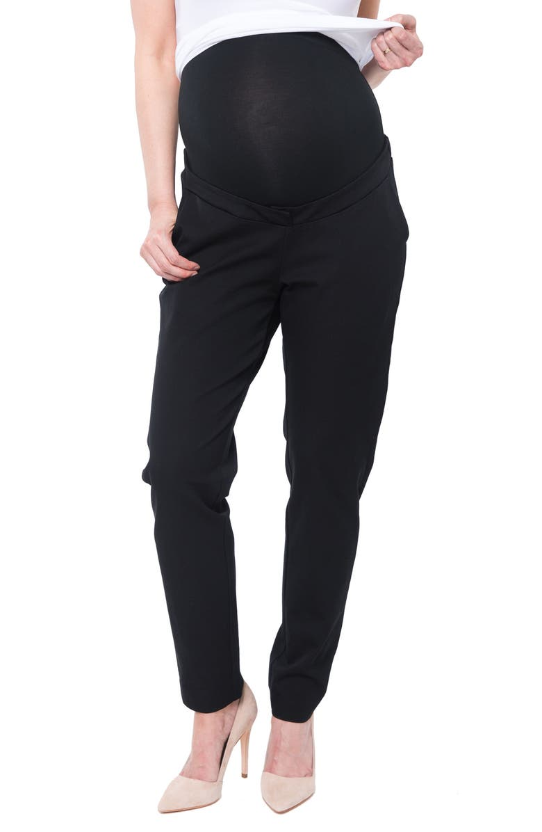 NOM MATERNITY Natalie Over the Belly Maternity Pants, Main, color, BLACK