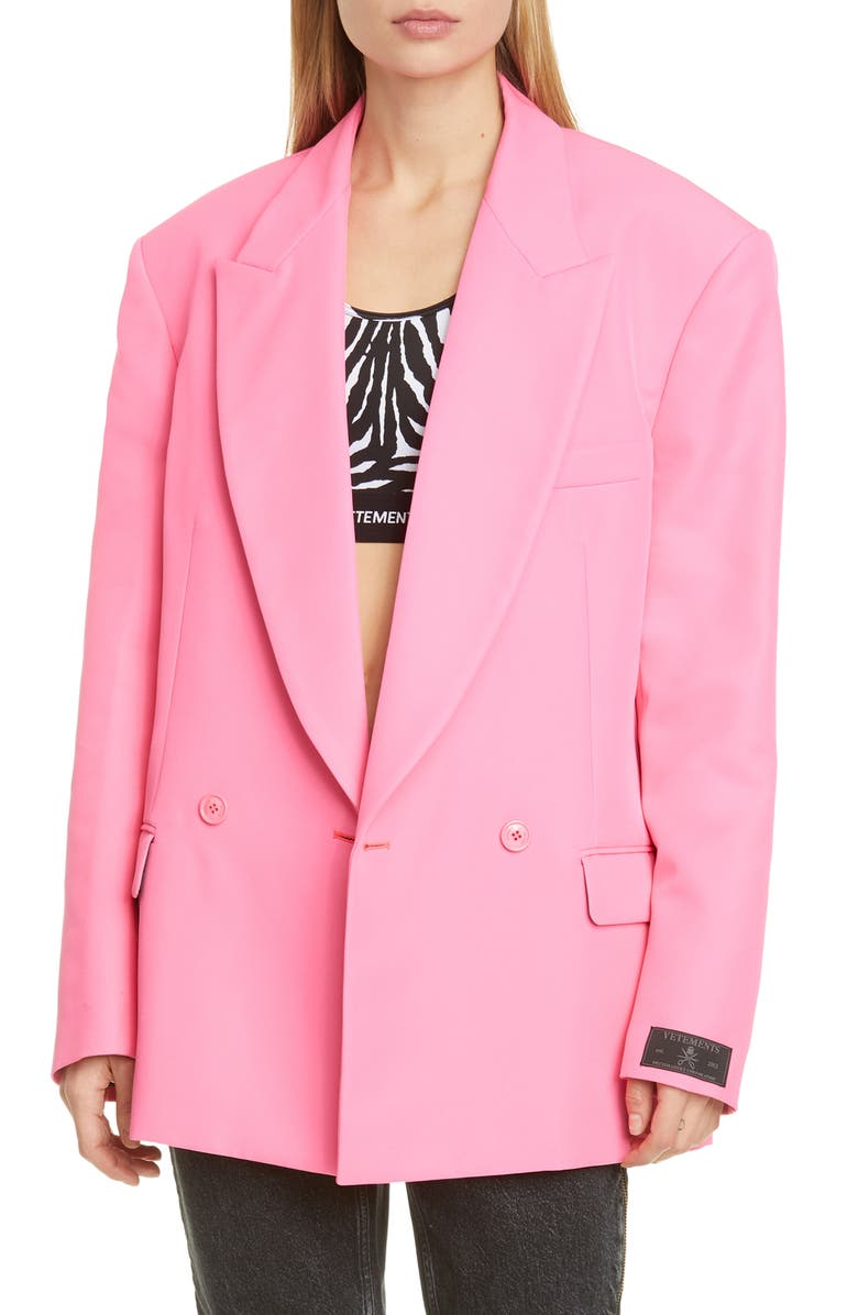 VETEMENTS Fluorescent Oversize Blazer, Main, color, FLUO PINK
