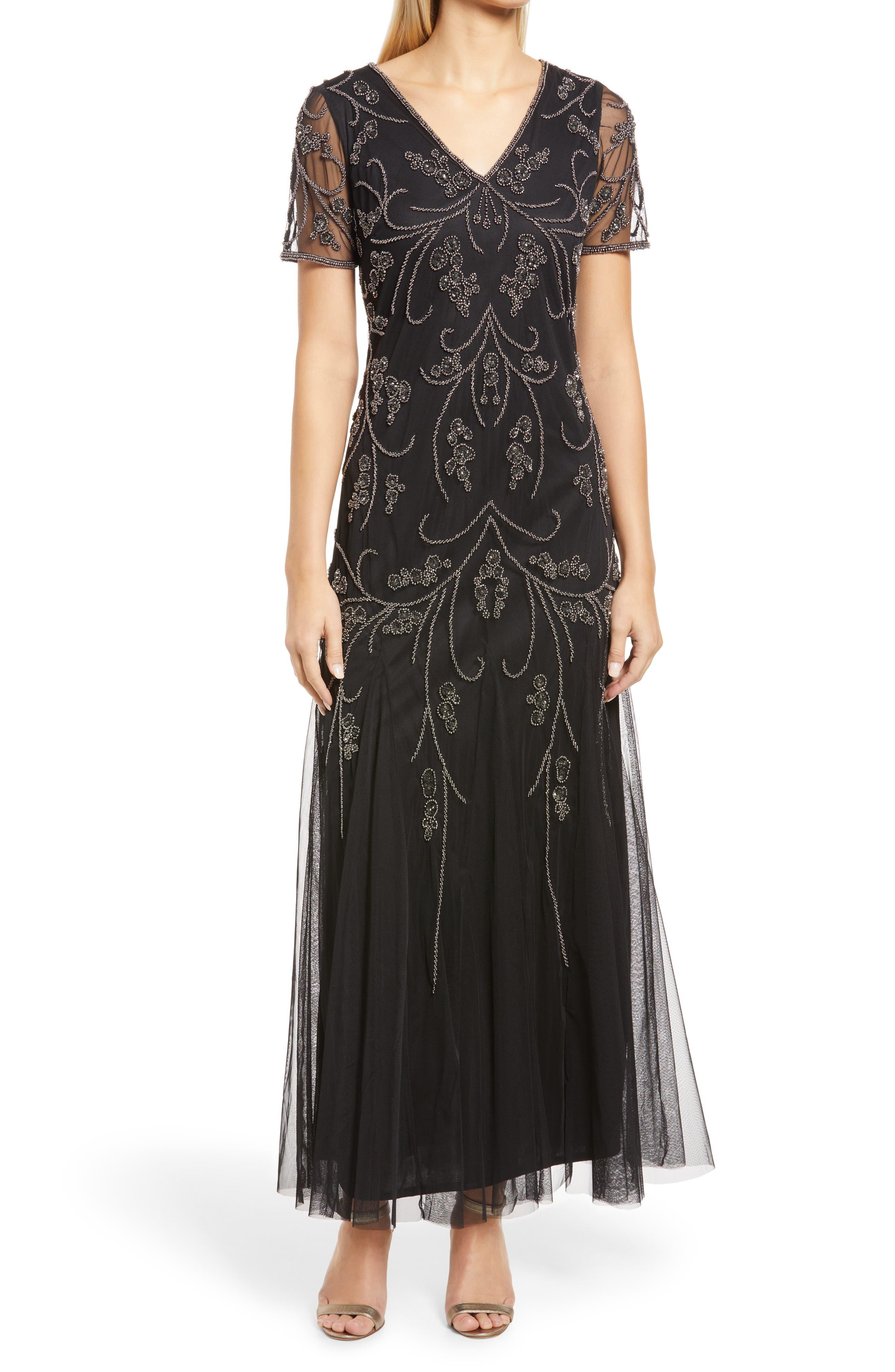 Vintage 1920s Dresses – Where to Buy Womens Pisarro Nights Beaded V-Neck Gown Size 2 - Black $228.00 AT vintagedancer.com