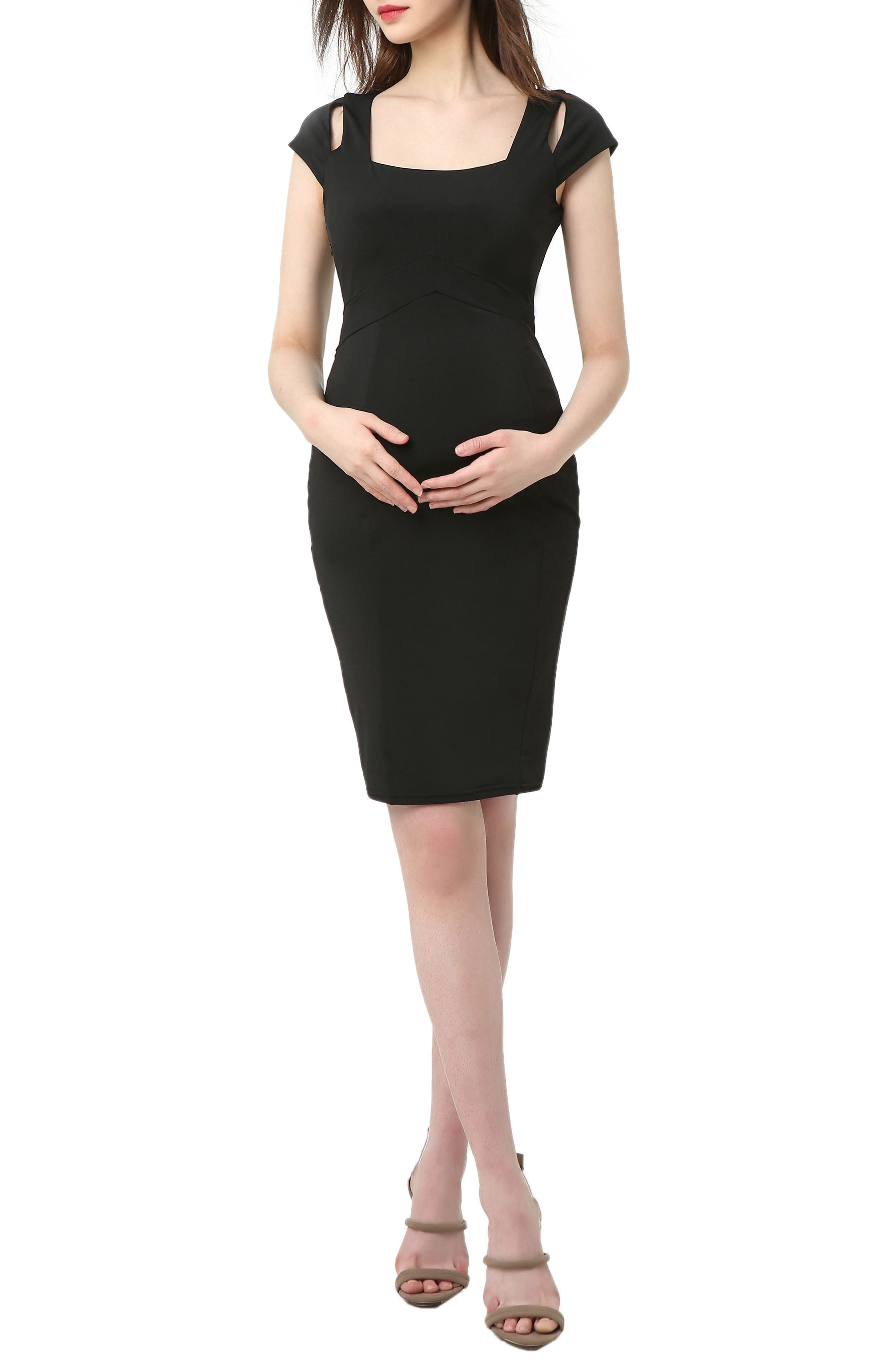 Kimi And Kai Julie Cold Shoulder Body-Con Maternity Dress, Black