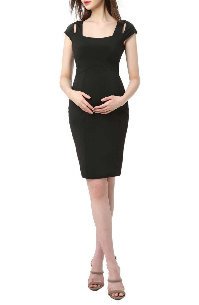 KIMI AND KAI Julie Cold Shoulder Body-Con Maternity Dress, Main, color, BLACK