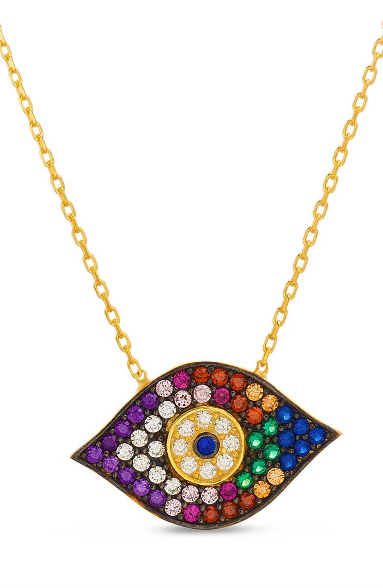 LESA MICHELE Evil Eye Pendant Necklace, Main, color, GOLD