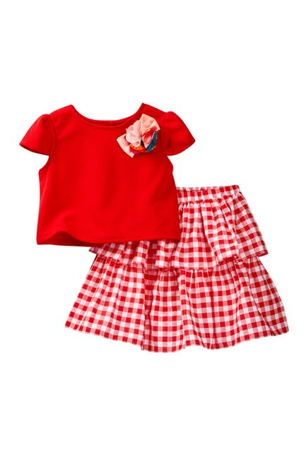 Image of Pippa & Julie Red & White Skirt Set