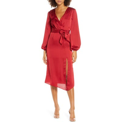 Finders Keepers Emilia Long Sleeve Satin Dress, Red