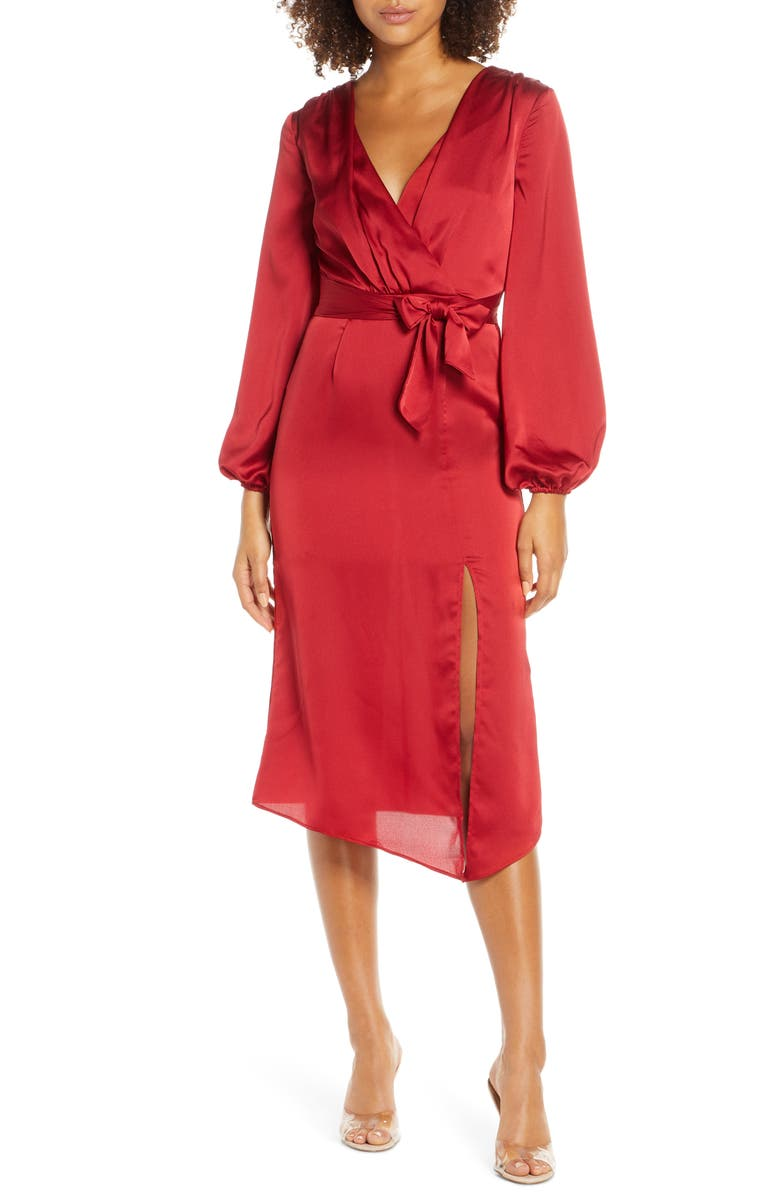 FINDERS KEEPERS Emilia Long Sleeve Satin Dress, Main, color, RED