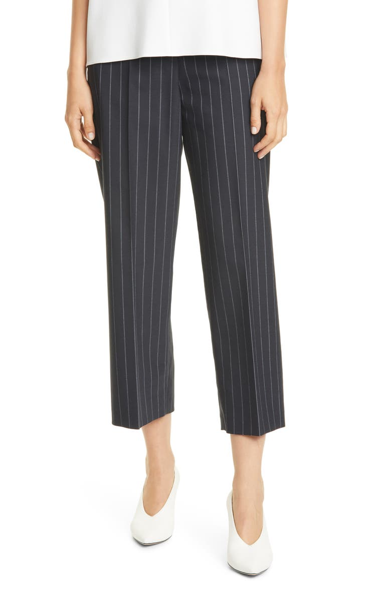 HUGO Hikuri Pinstripe Wide Leg Ankle Trousers, Main, color, BLACK