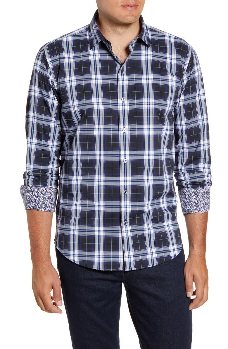 BUGATCHI Shaped Fit Plaid Performance Button-Up Shirt, Main, color, 411