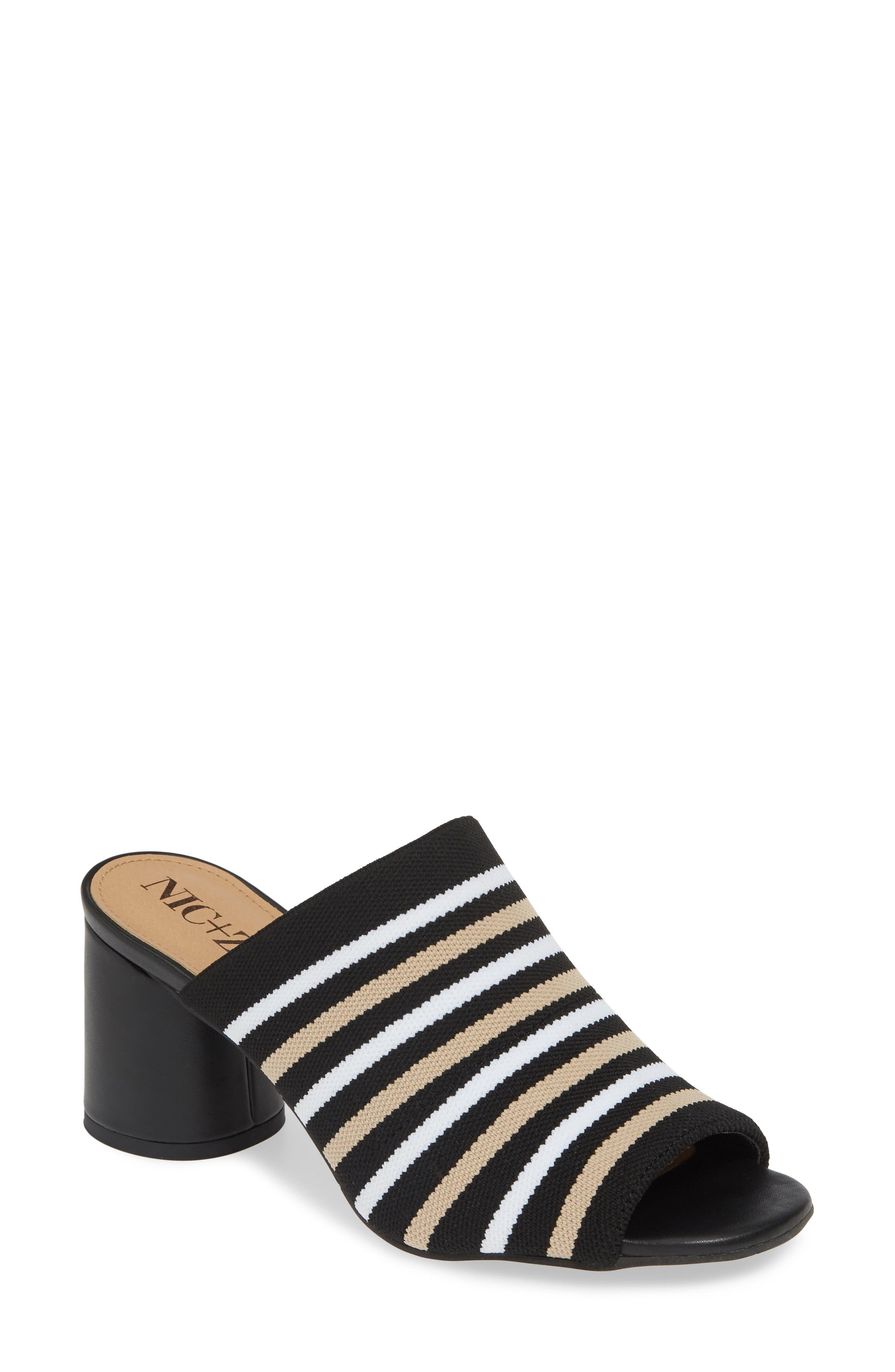 Nic+Zoe Padma Stripe Knit Mule Sandal- Black