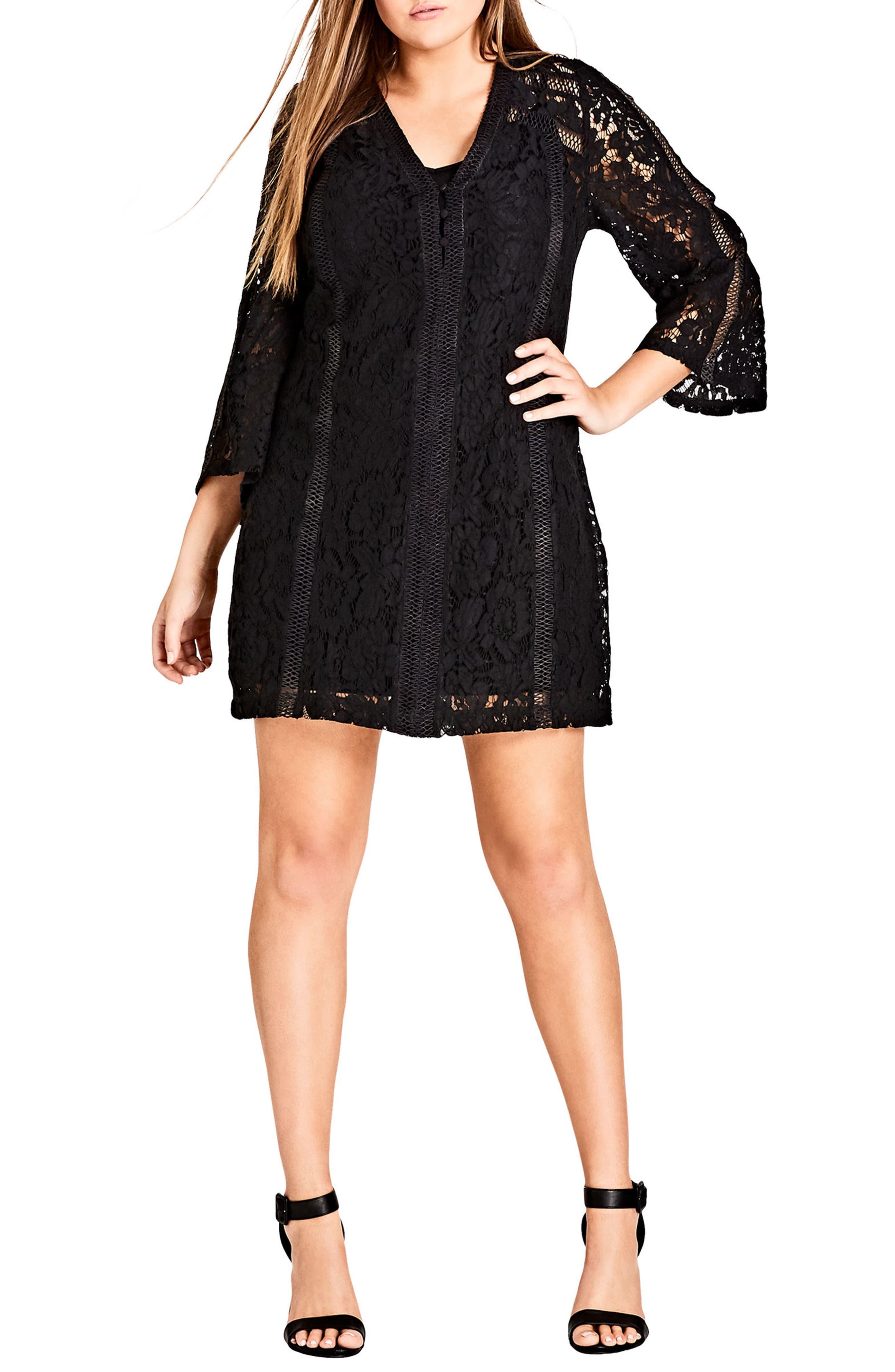 Plus Size City Chic Innocent Lace Shift Dress, Black