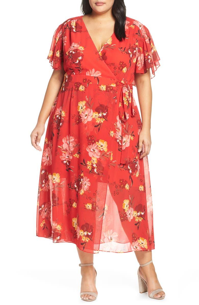 VINCE CAMUTO Smocking & Ruffles Chiffon Maxi Dress, Main, color, 600