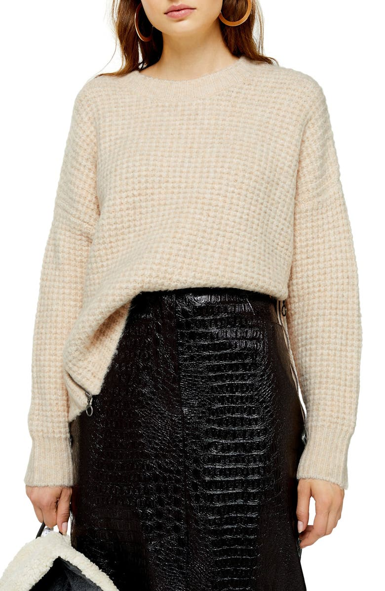 TOPSHOP Zip Detail Waffle Knit Sweater, Main, color, OATMEAL