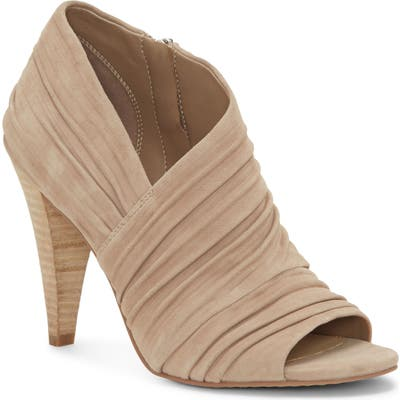 Vince Camuto Anara Ruched Peep Toe Bootie, Beige