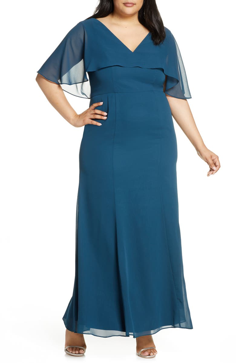 CHI CHI LONDON Curve Kelley Chiffon Capelet Gown, Main, color, TEAL