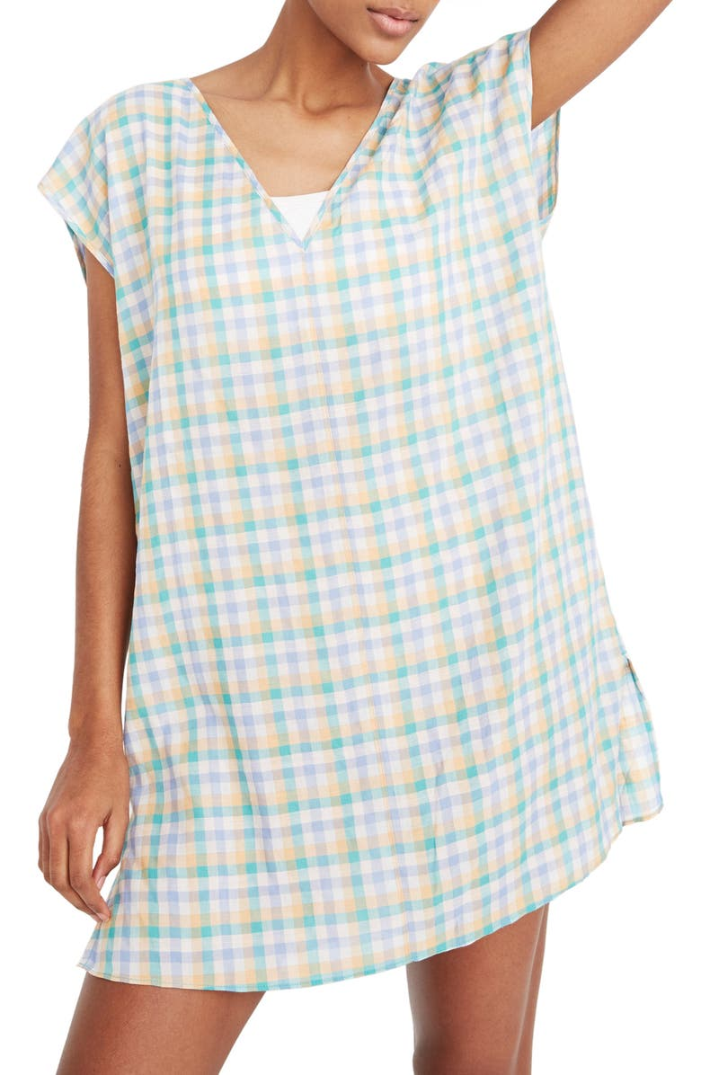 MADEWELL Pastel Gingham Cover-Up Tunic Dress, Main, color, RAINWASHED PERI