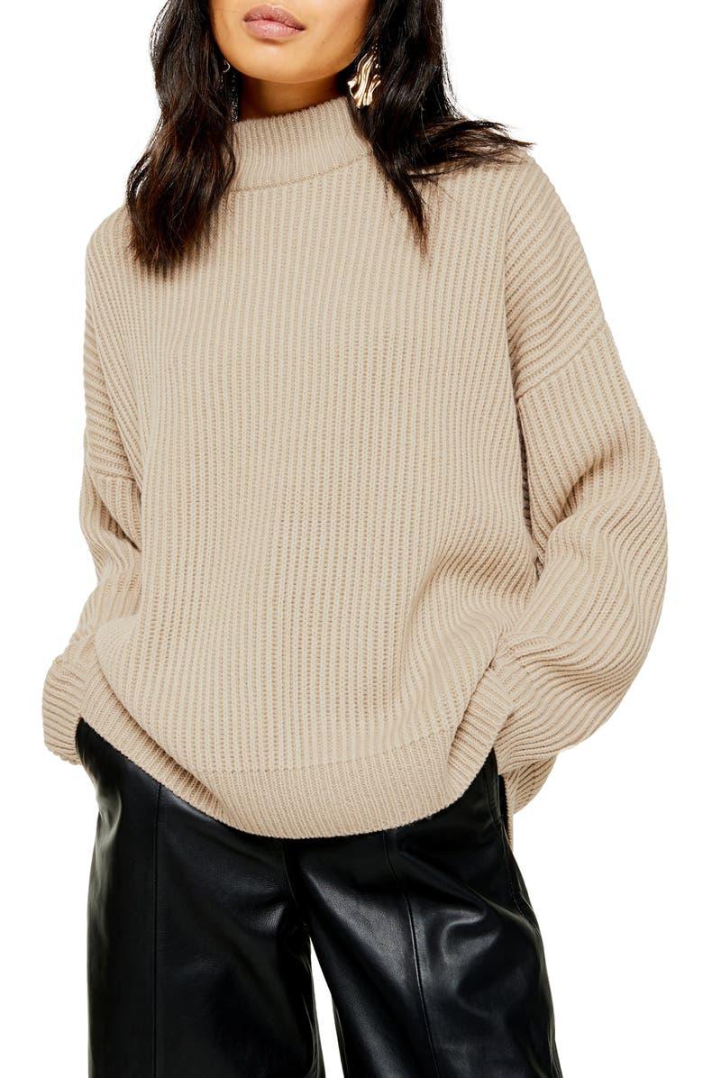 TOPSHOP Mock Neck Sweater, Main, color, OAT