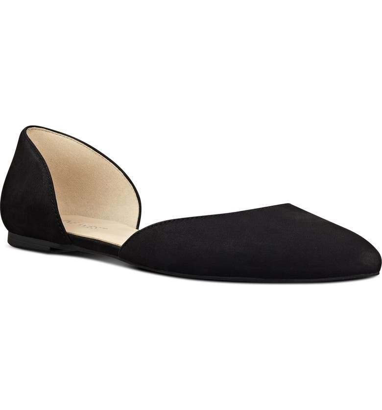 NINE WEST Starship d'Orsay Flat, Main, color, BLACK/ BLACK SUEDE