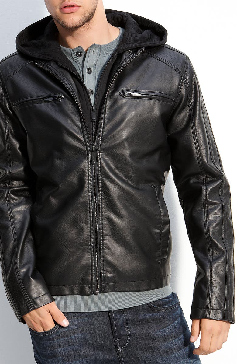 BLACK RIVET Faux Leather Moto Jacket with Removable Hood, Main, color, 001