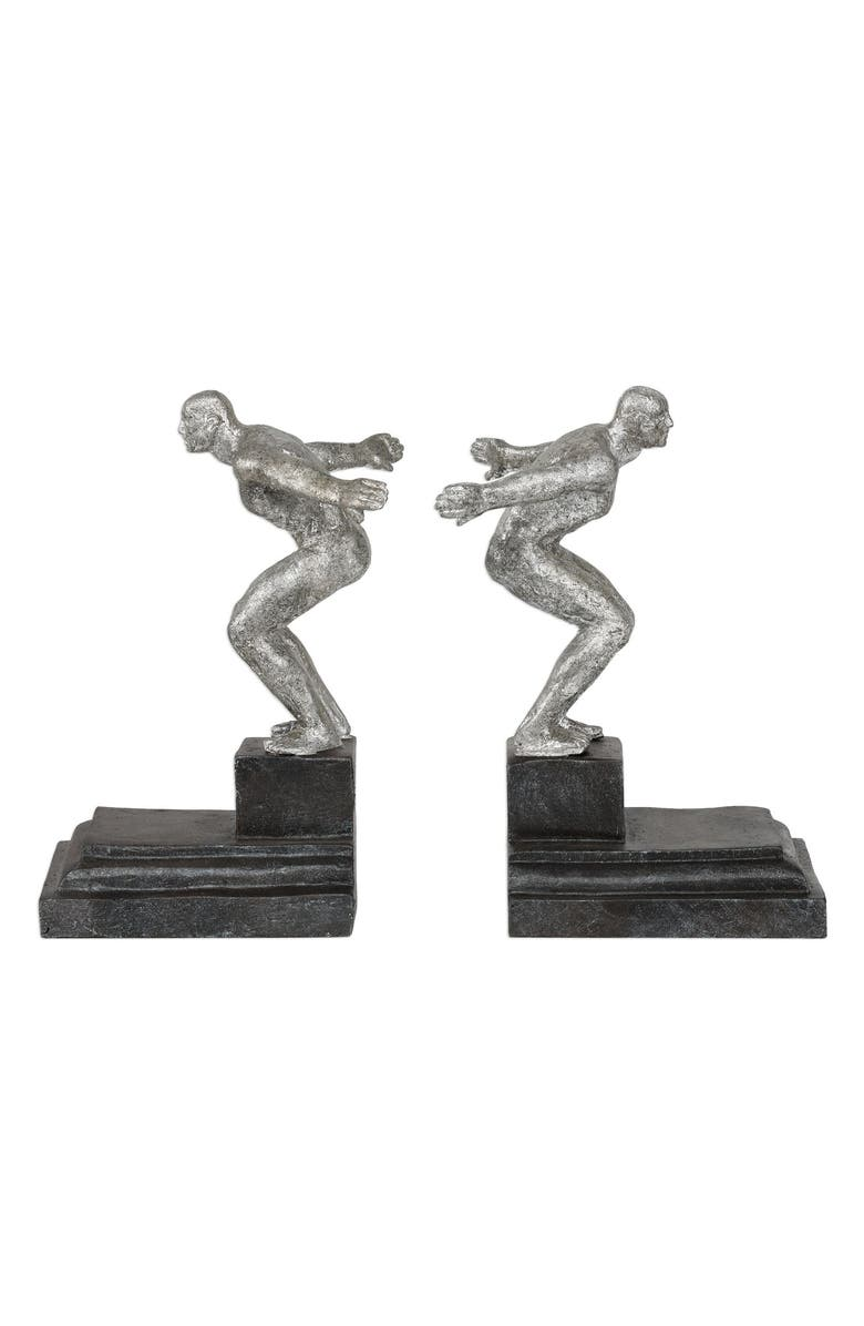 UTTERMOST Set of 2 Endurance Bookends, Main, color, METALLIC SILVER/ BRONZE BASE