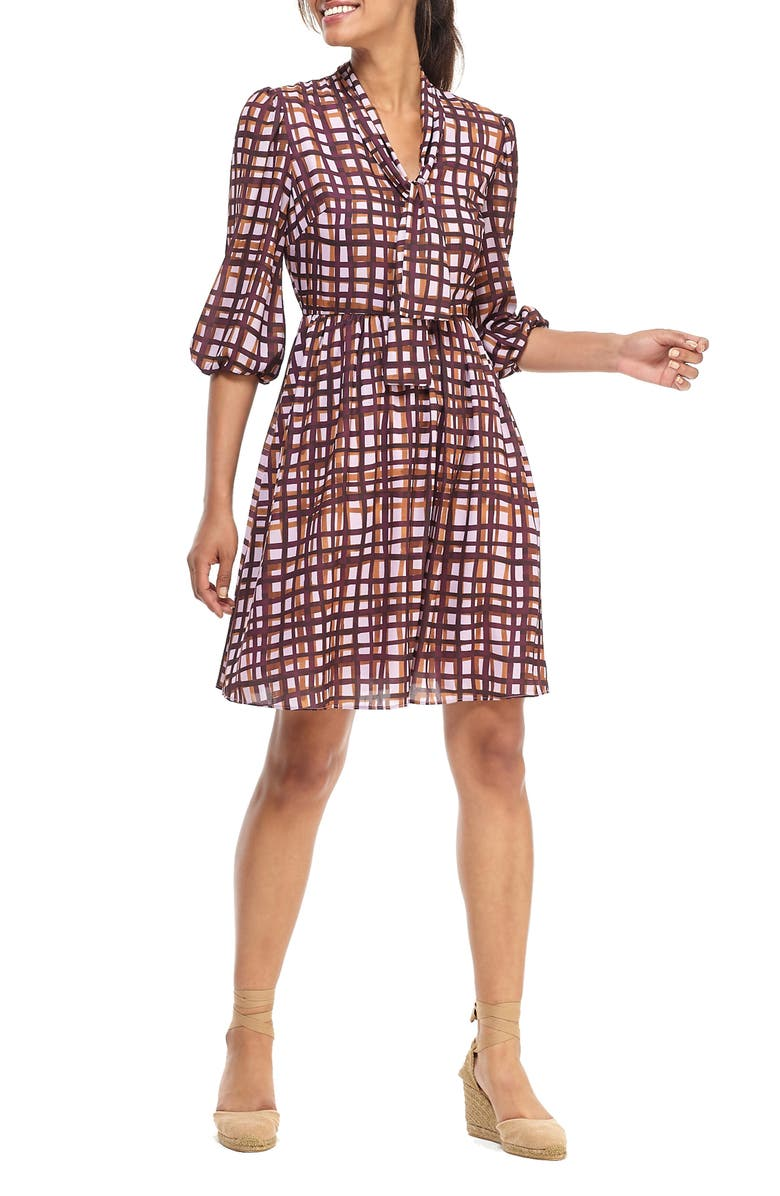GAL MEETS GLAM COLLECTION Lindsey Painted Windowpane Tie Neck Dress, Main, color, 500