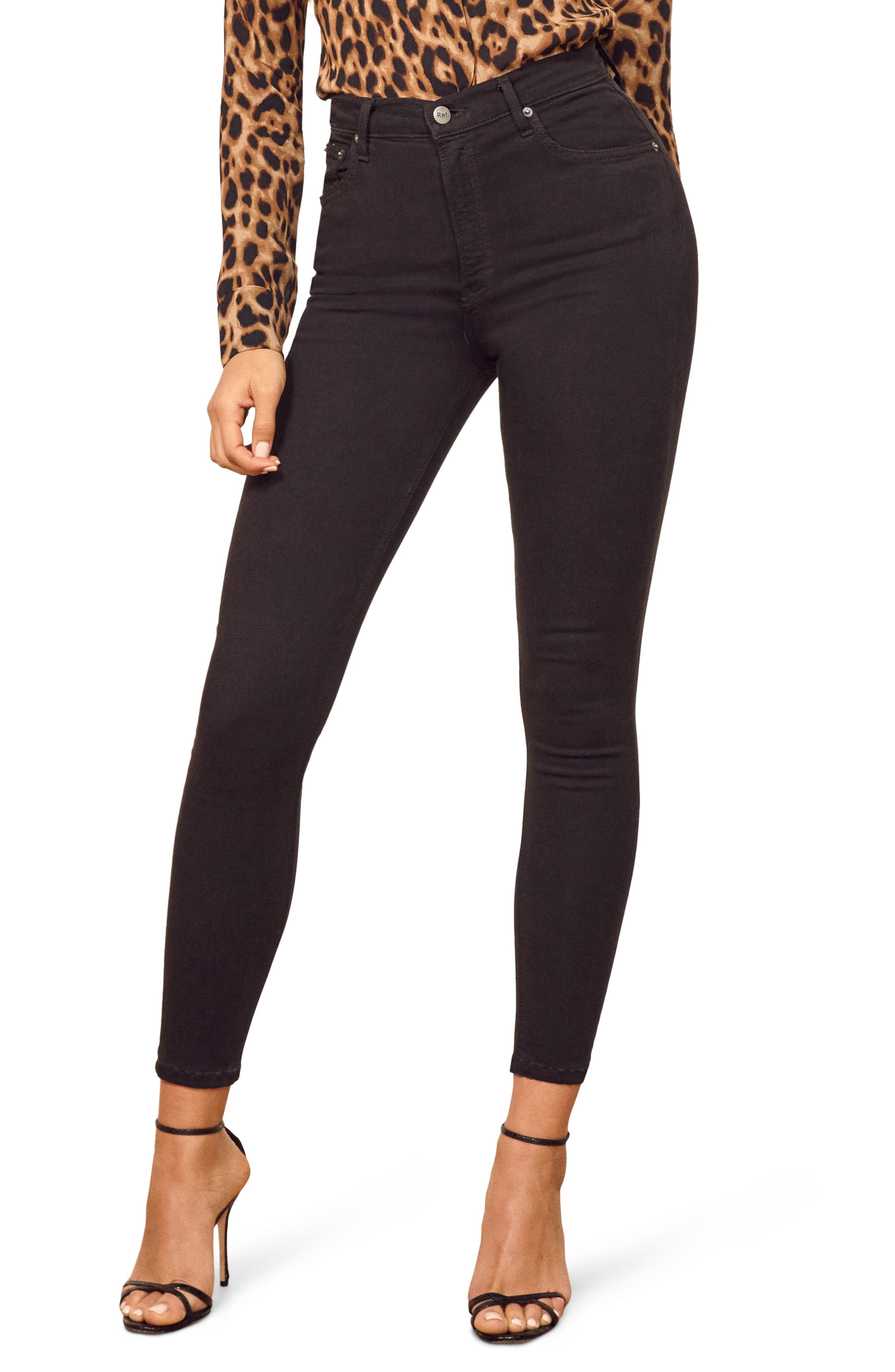 ,                             High & Skinny Crop Jeans,                             Main thumbnail 1, color,                             FADED BLACK