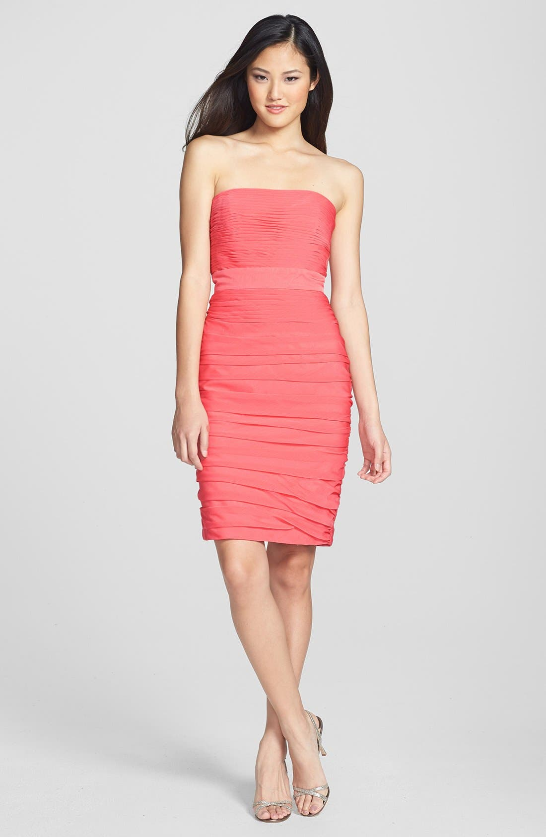 ,                             Ruched Strapless Cationic Chiffon Dress,                             Alternate thumbnail 79, color,                             805