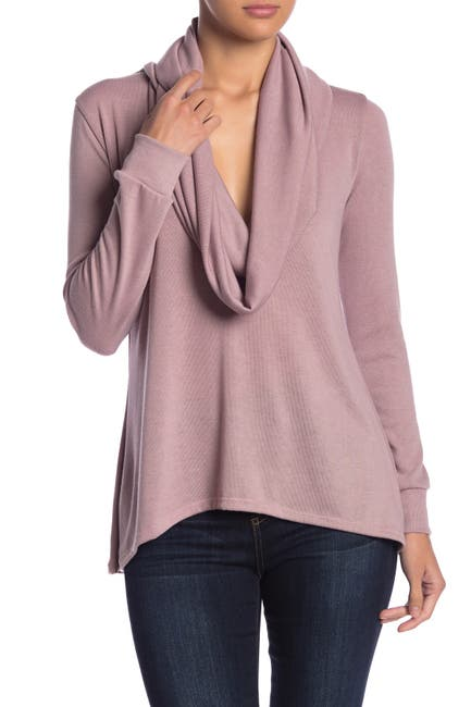 Image of Go Couture Cowl Neck High/Low Tunic Sweater