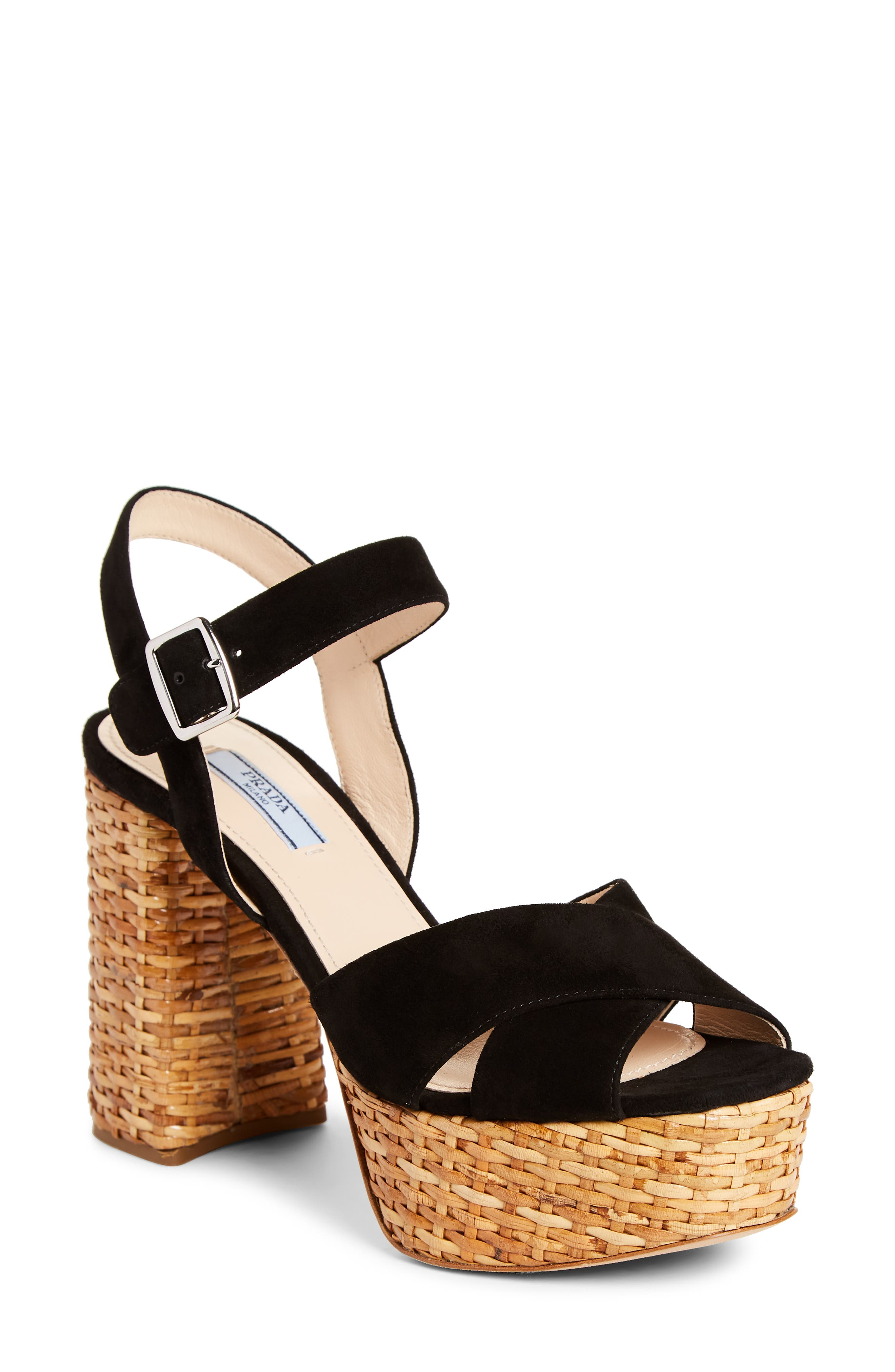 Mottled wicker brings breezy texture and nonchalance to the platform and towering, curvy heel of a sandal topped with straps of velvety suede. Style Name: Prada Wicker Platform Sandal (Women). Style Number: 5970333. Available in stores.