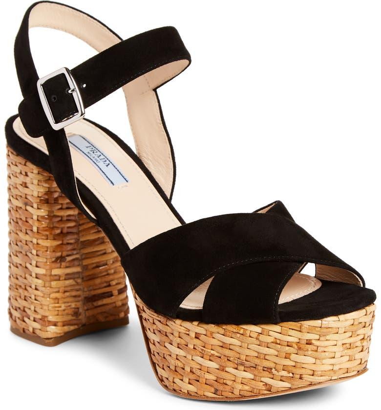 PRADA Wicker Platform Sandal, Main, color, BLACK