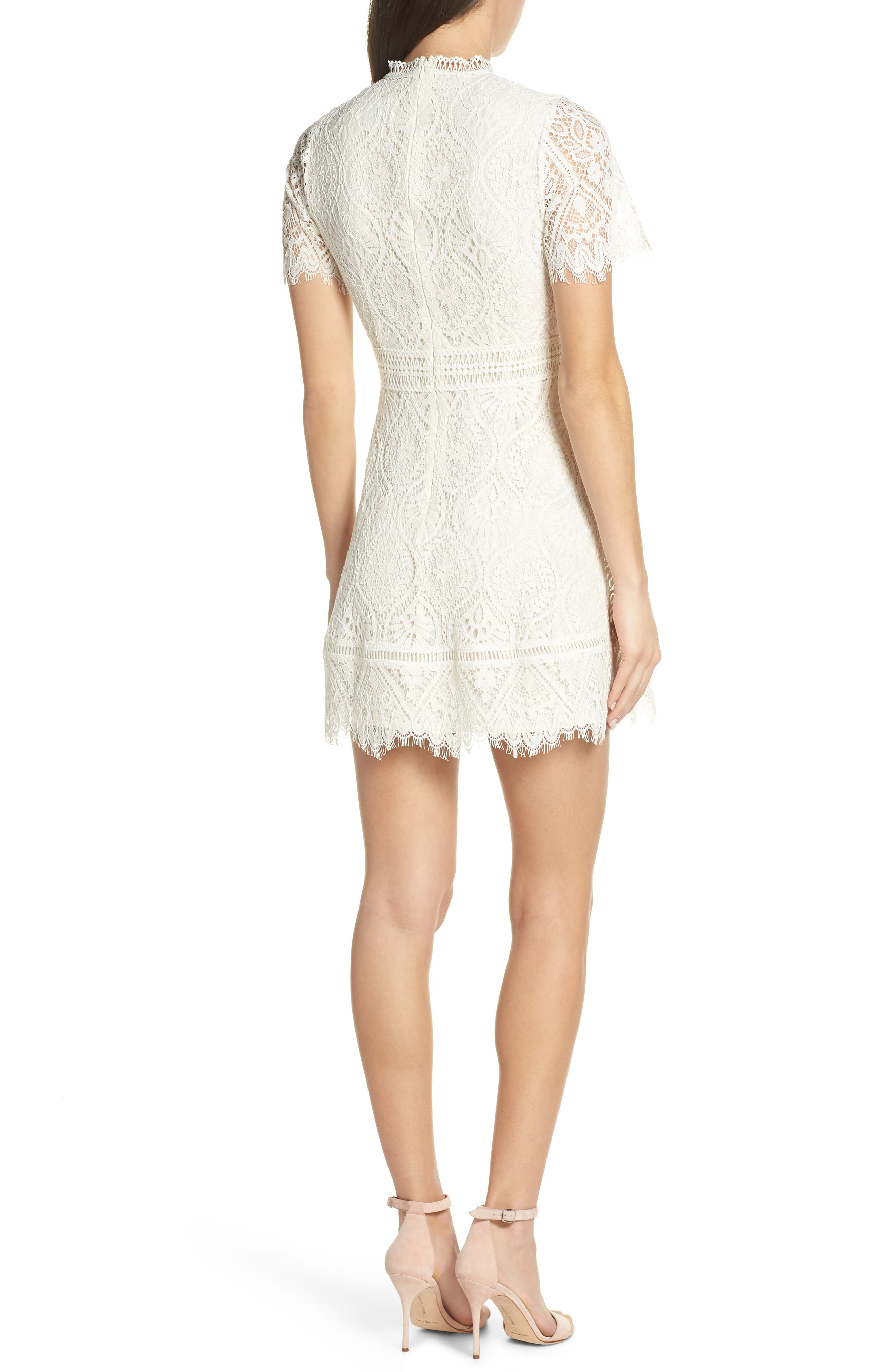 ,                             On List Short Sleeve Lace Fit & Flare Dress,                             Alternate thumbnail 2, color,                             IVORY