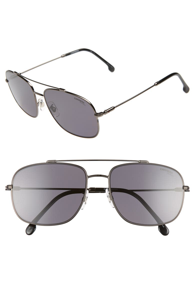 CARRERA EYEWEAR 60mm Special Fit Polarized Navigator Sunglasses, Main, color, DARK RUTHENIUM/ BLACK
