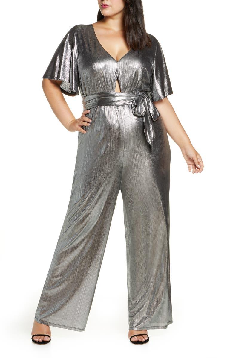 ELOQUII R29 x ELOQUII Wide Leg Metallic Jumpsuit, Main, color, SILVER/ TOTALLY BLACK