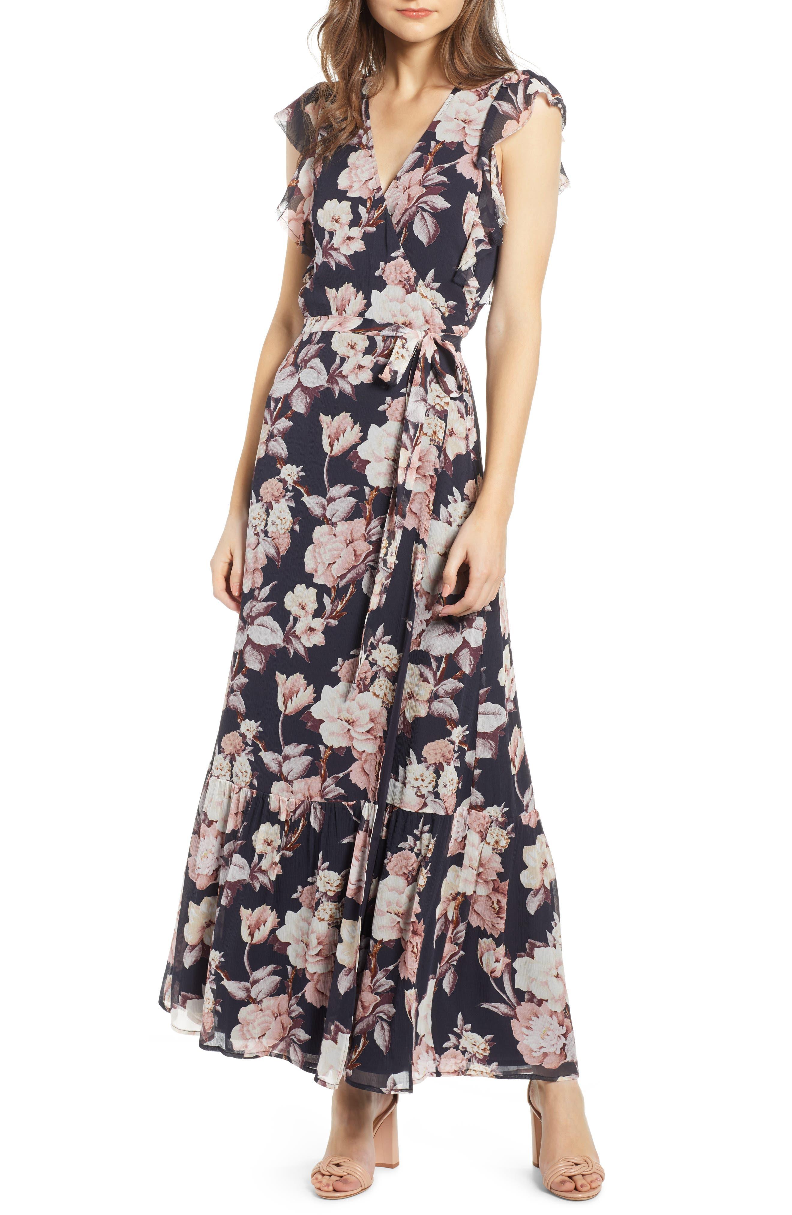 Paige Maquel Silk Maxi Wrap Dress, Black