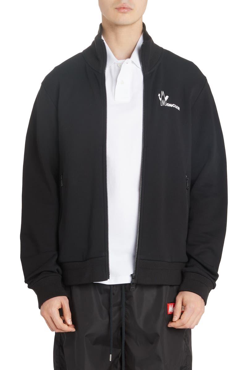 MONCLER Fleece Zip Jacket, Main, color, BLACK