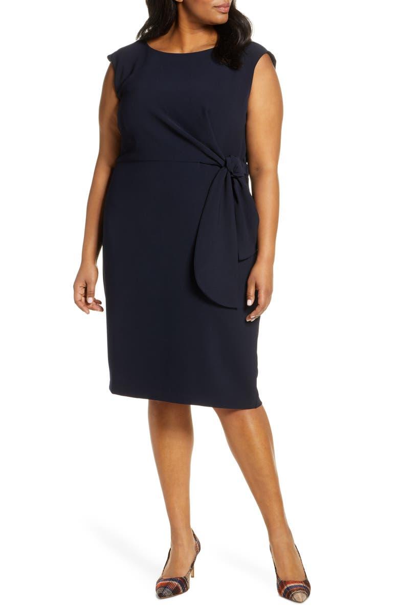 TAHARI Tie Waist Cap Sleeve Sheath Dress, Main, color, NAVY
