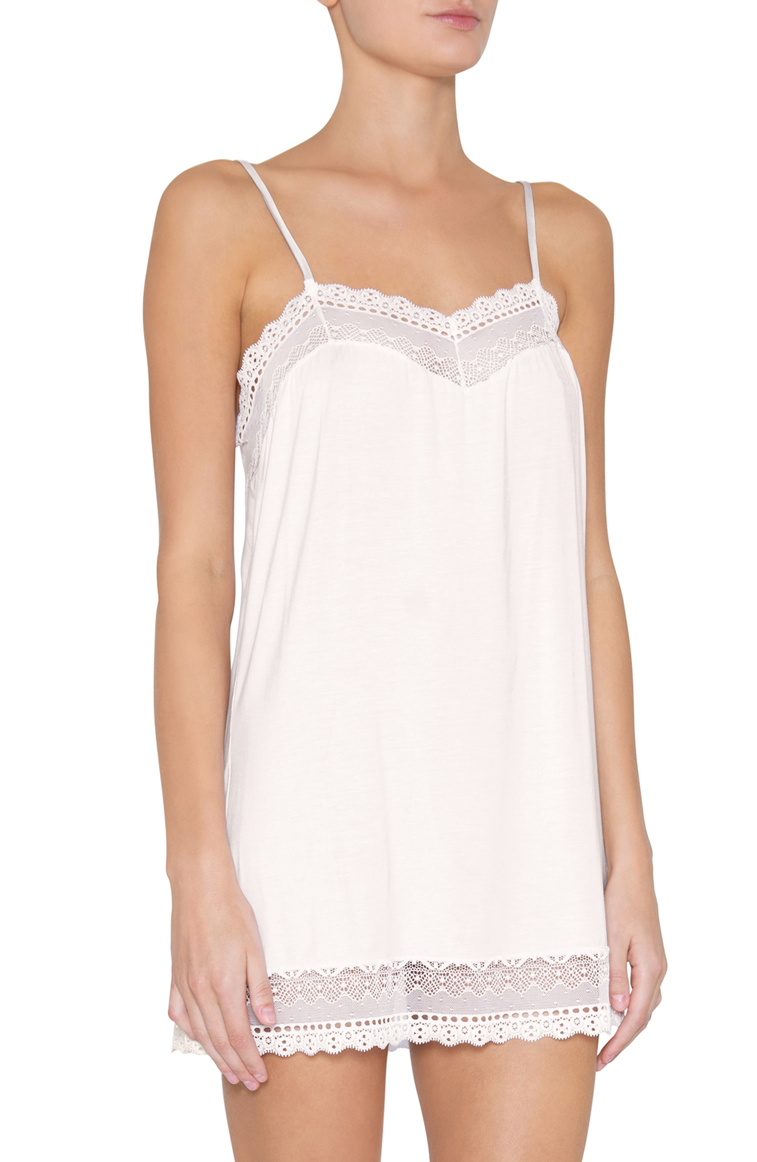1920s Style Underwear, Lingerie, Nightgowns, Pajamas Womens Eberjey Lucie Sweetie Chemise Size Large - White $86.00 AT vintagedancer.com