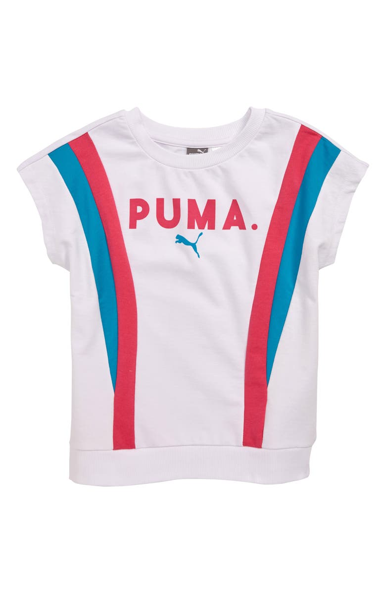PUMA Colorblock French Terry Pullover, Main, color, 100