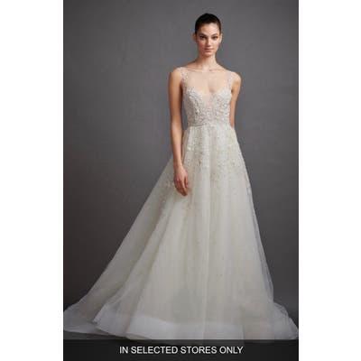 Lazaro Gabriela Beaded Lace & Tulle Wedding Dress, Size - Ivory