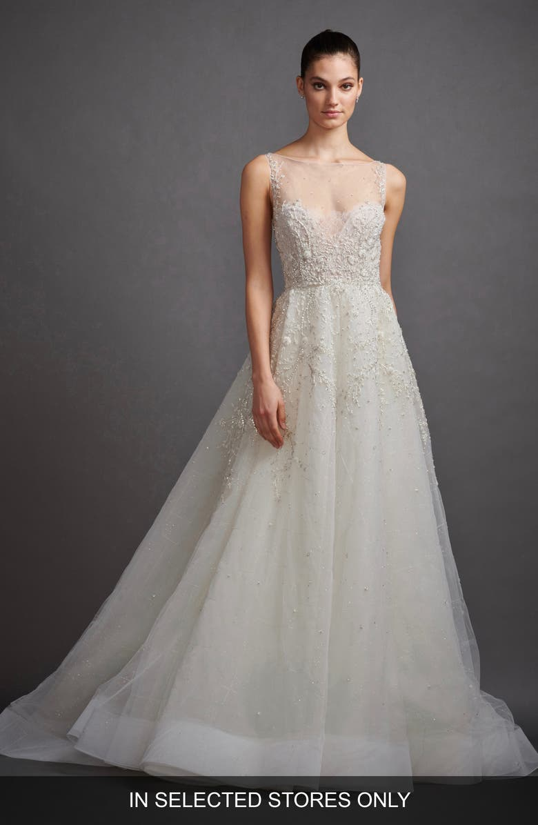 LAZARO Gabriela Beaded Lace & Tulle Wedding Dress, Main, color, IVORY