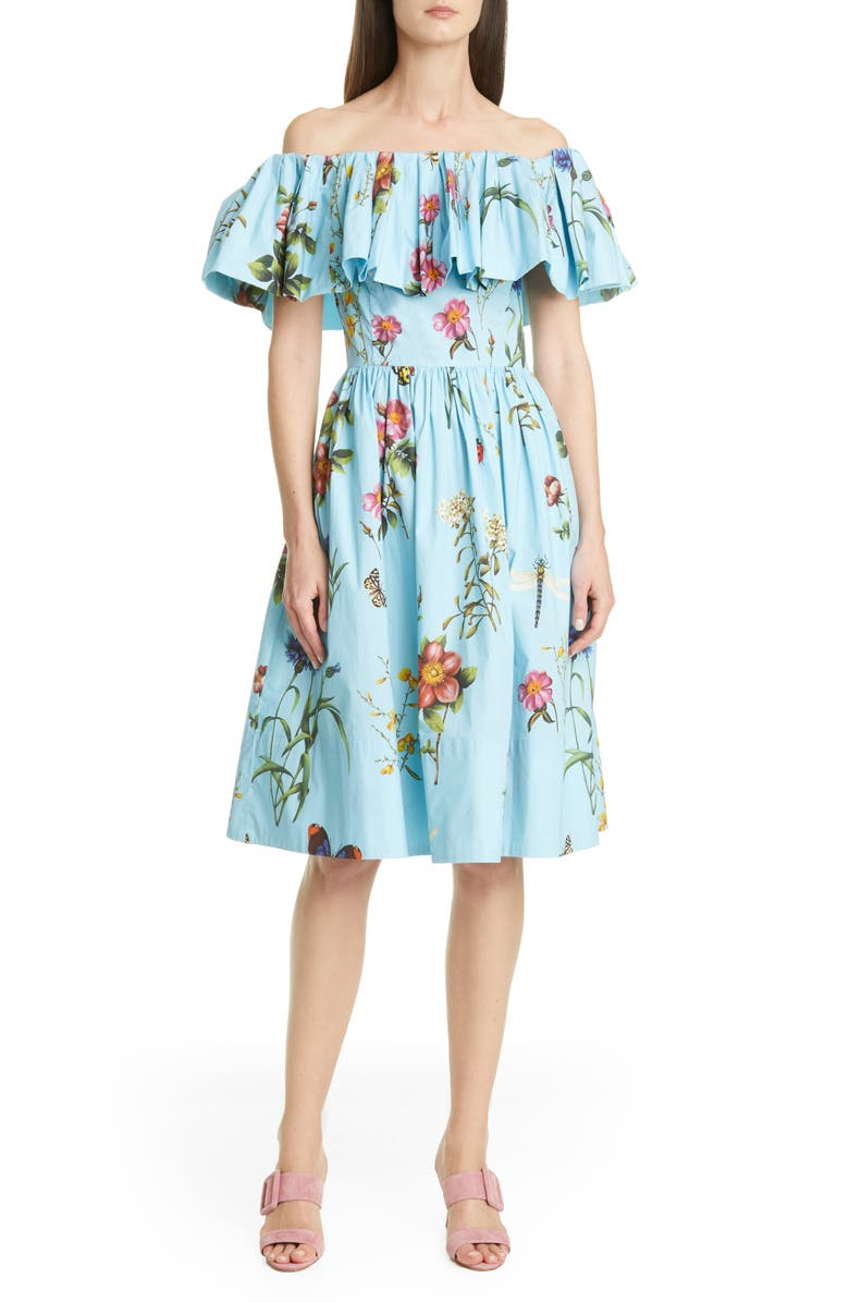 OSCAR DE LA RENTA Floral Off the Shoulder Dress, Main, color, AQUAMARINE
