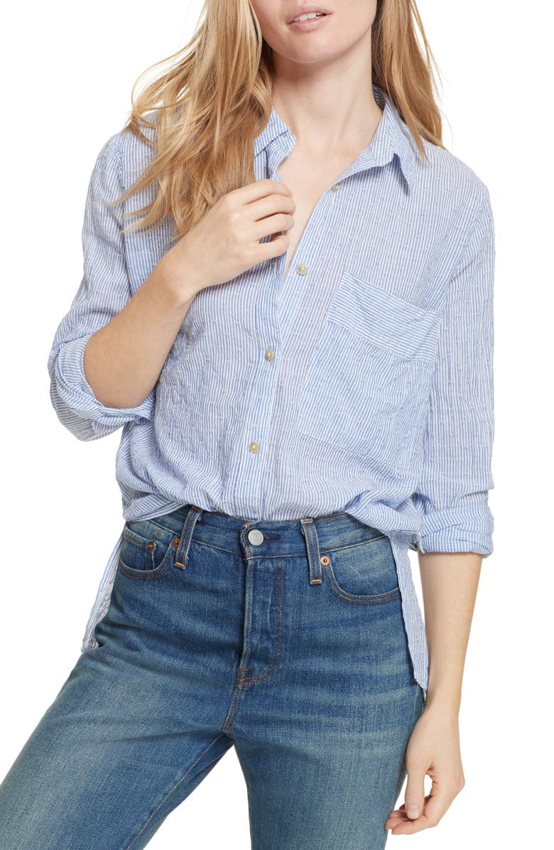 FREE PEOPLE No Limits Stripe Stretch Cotton Shirt, Main, color, 400