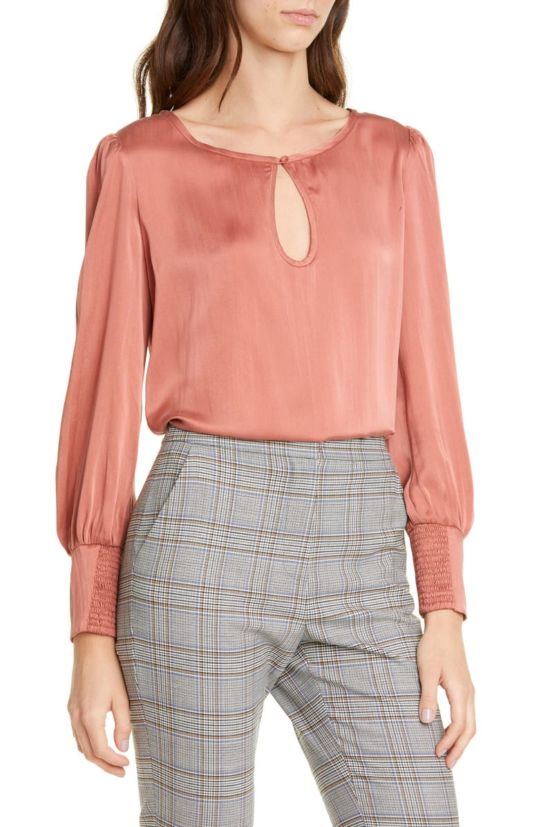 TAILORED BY REBECCA TAYLOR Long Sleeve Silk Charmeuse Blouse, Main, color, BURNT ROSE