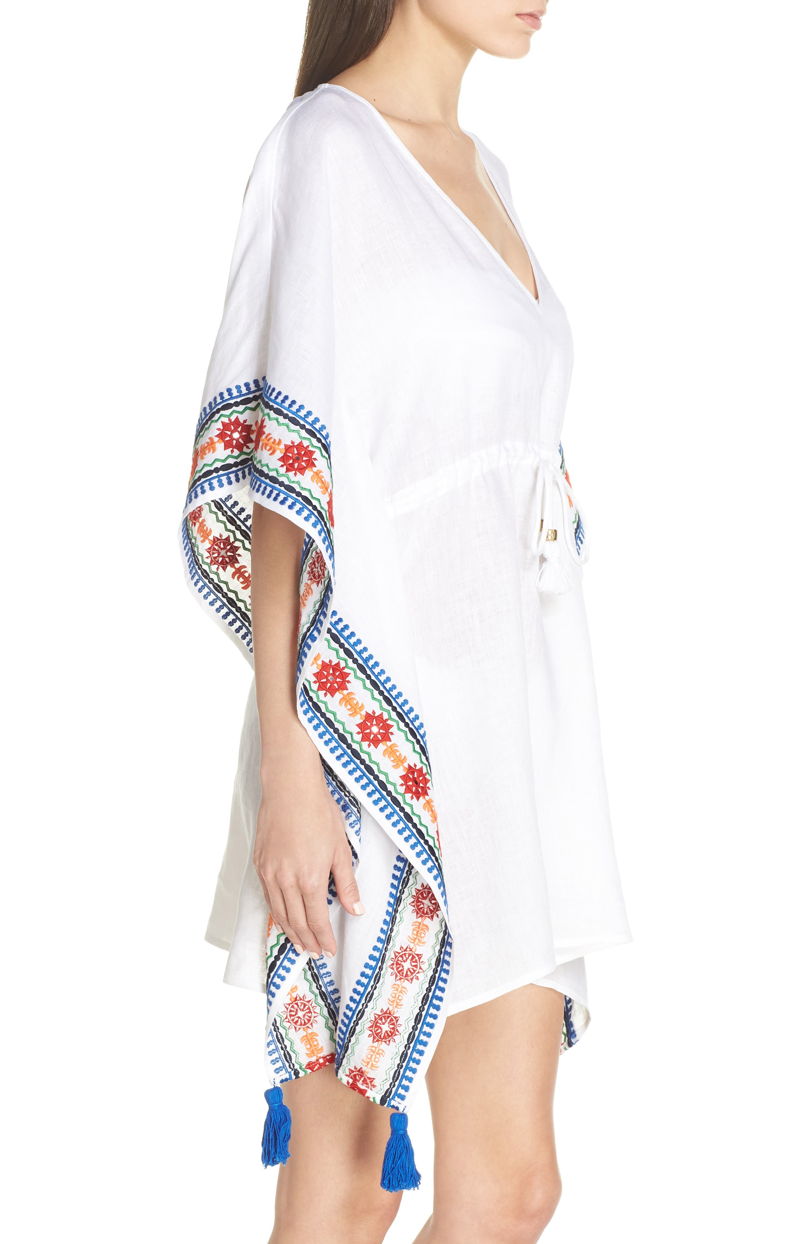 ,                             Embroidered Cover-Up Caftan,                             Alternate thumbnail 3, color,                             WHITE