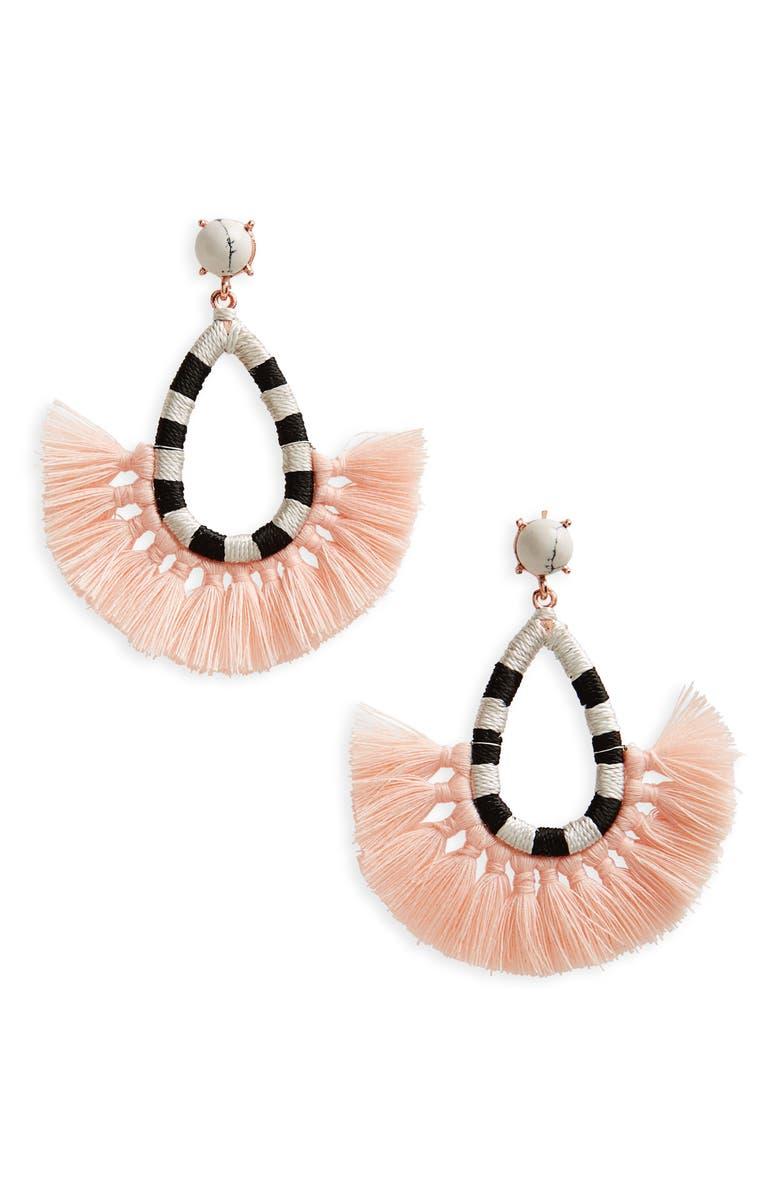 BP. Wrapped Tassel Fan Earrings, Main, color, 001